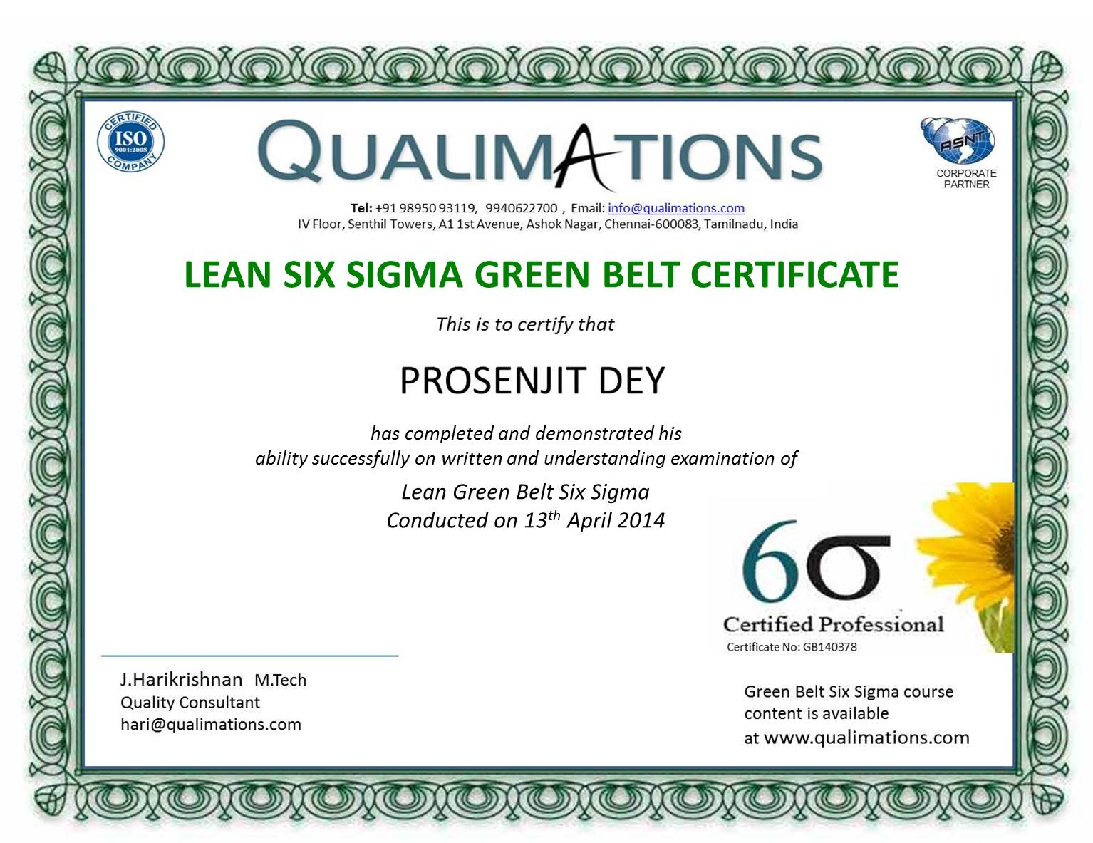 Six Sigmagreen Beltblack Belttrainingcertificationqaqcquality